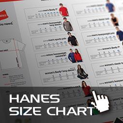 Computercut Caloundra - Hanes Size and Fitting Information Chart