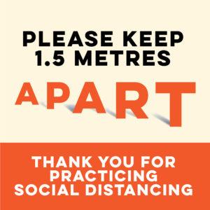 1.5 metres apart